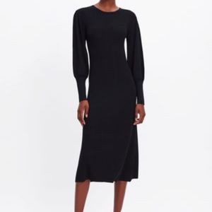 Zara PUFFY SLEEVE Black DRESS S